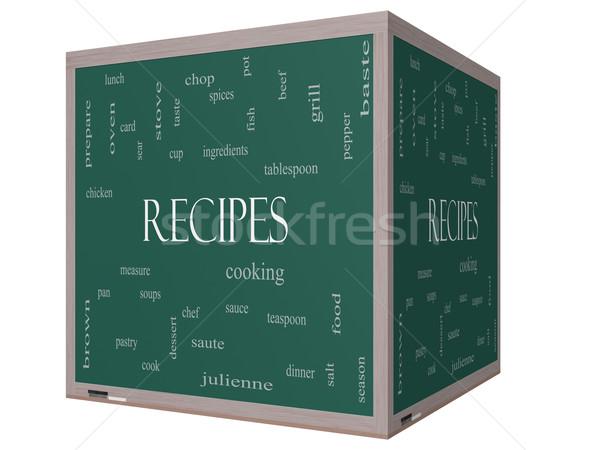 Stockfoto: Recepten · woordwolk · 3D · kubus · Blackboard · groot