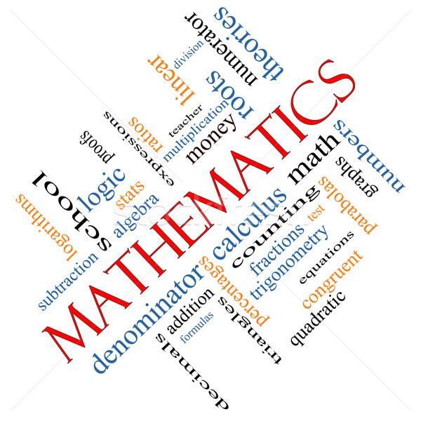 Mathematics Word Cloud Concept Angled Stock photo © mybaitshop