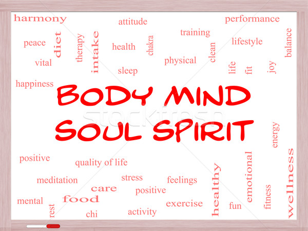 Body Mind Soul Spirit Word Cloud Concept on a Whiteboard Stock photo © mybaitshop