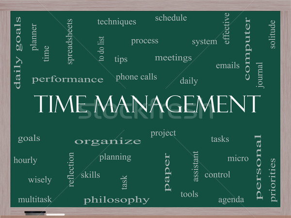 Time Management Word Cloud Concept on a Blackboard Stock photo © mybaitshop