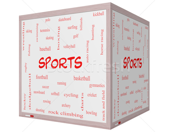 Stock fotó: Sportok · szófelhő · 3D · kocka · tábla · nagyszerű