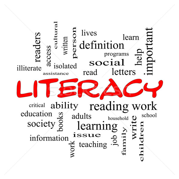Literacy Word Cloud Concept in red caps Stock photo © mybaitshop