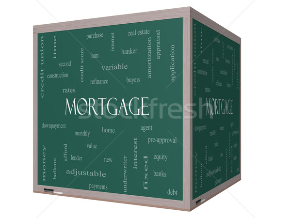 Mortgage Word Cloud Concept on a 3D cube Blackboard Stock photo © mybaitshop