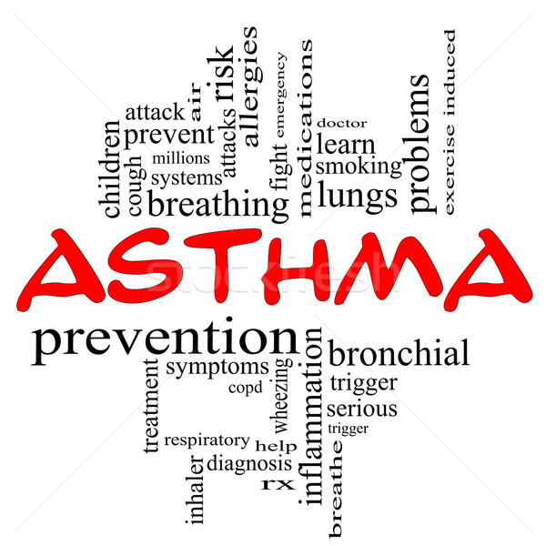 Asthma Word Cloud Concept in red caps Stock photo © mybaitshop
