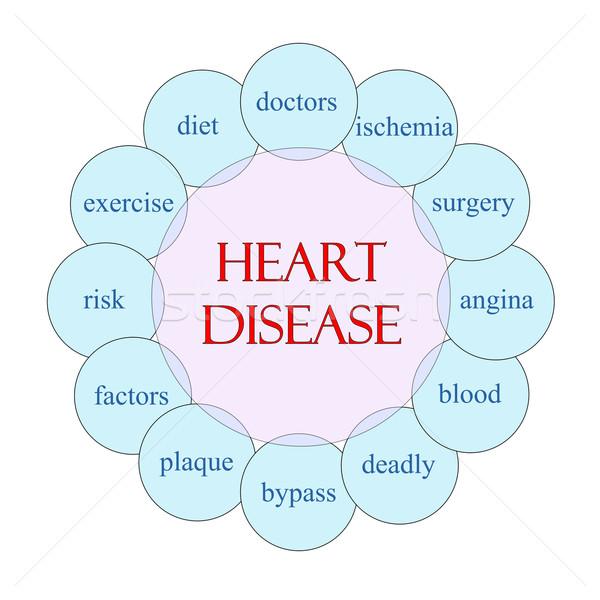 Hartziekte woord diagram roze Blauw Stockfoto © mybaitshop