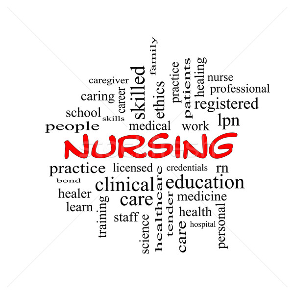 Nursing Word Cloud Concept in red caps Stock photo © mybaitshop