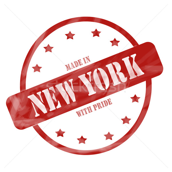Red Weathered Made in New York with Pride Stamp Circle and Stars Stock photo © mybaitshop