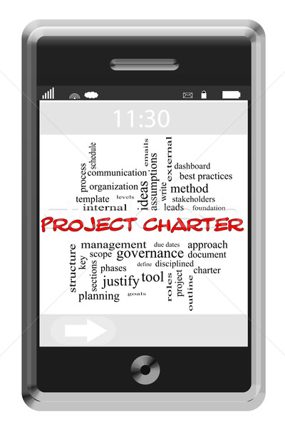 Project Charter Word Cloud Concept on a Touchscreen Phone Stock photo © mybaitshop
