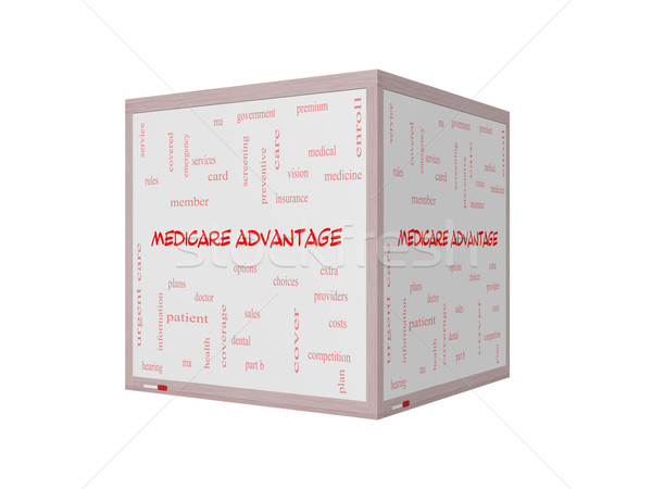 Medicare Advantage Word Cloud Concept on a 3D Whiteboard Stock photo © mybaitshop