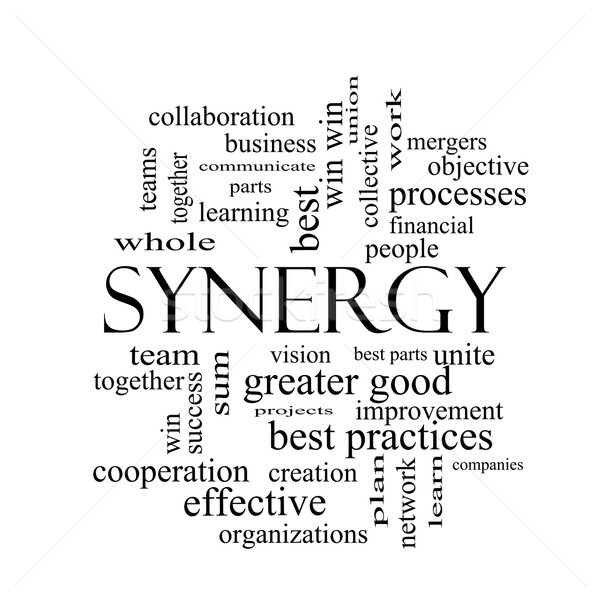 Synergy Word Cloud Concept in black and white Stock photo © mybaitshop