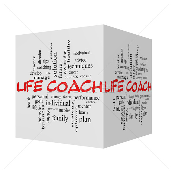 Life Coach 3D Word Cloud Concept in red caps Stock photo © mybaitshop