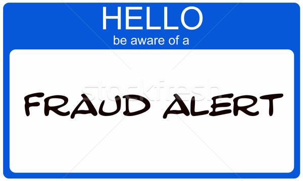 Hello csalás éber kék névtábla név Stock fotó © mybaitshop