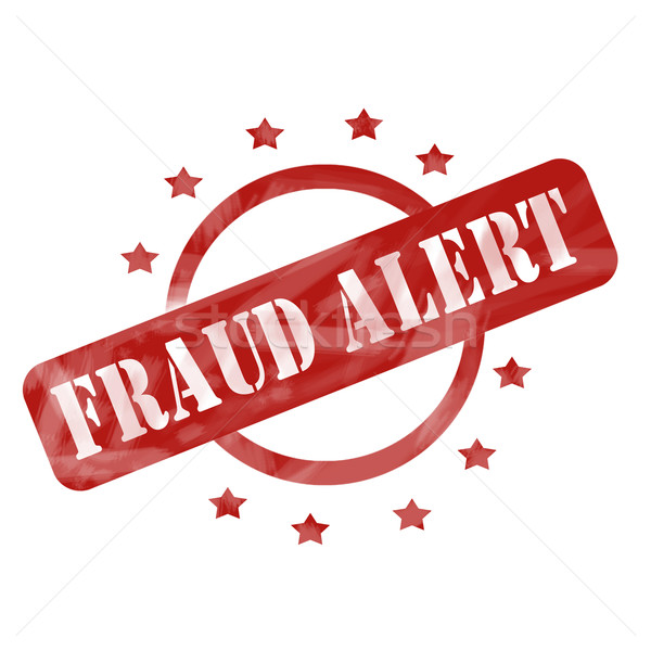 Red Weathered Fraud Alert Stamp Circle and Stars design Stock photo © mybaitshop