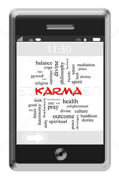 Karma szófelhő érintőképernyő telefon nagyszerű zen Stock fotó © mybaitshop