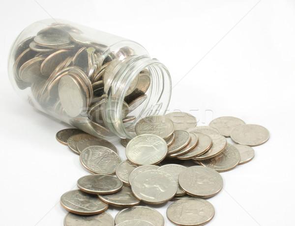 Foto stock: Jarra · completo · dinheiro · vidro · branco · numerário