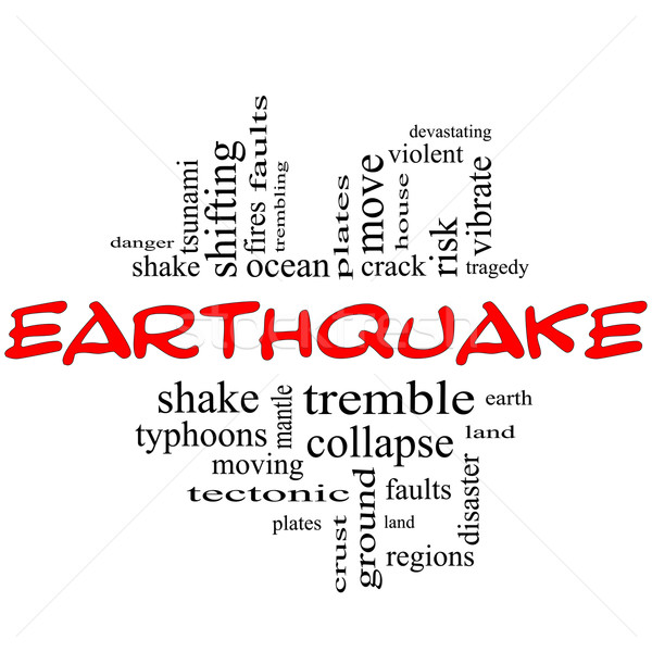 Earthquake Word Cloud Concept in red & black Stock photo © mybaitshop