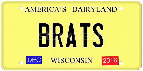 Wisconsin imitação placa dezembro 2016 adesivos Foto stock © mybaitshop
