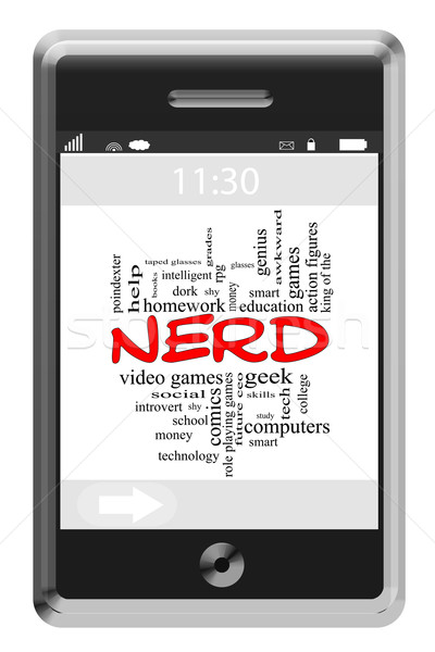 Nerd Word Cloud Concept on Touchscreen Phone Stock photo © mybaitshop