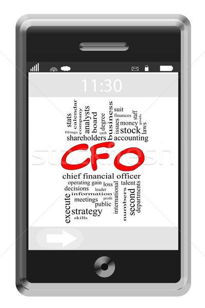 Stock fotó: Szófelhő · érintőképernyő · telefon · nagyszerű · pénzügyi · könyvelés
