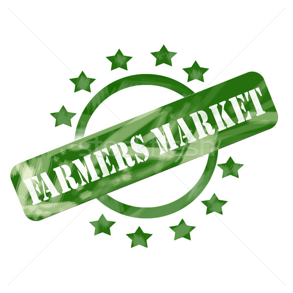 Green Weathered Farmers Market Stamp Circle and Stars Design Stock photo © mybaitshop