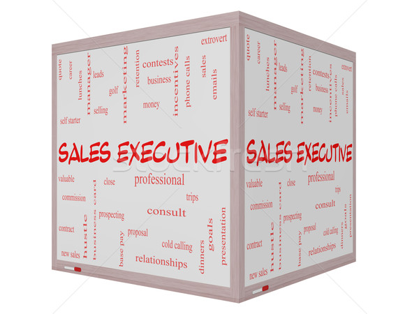 Sales Executive Word Cloud Concept on a 3D cube Whiteboard Stock photo © mybaitshop