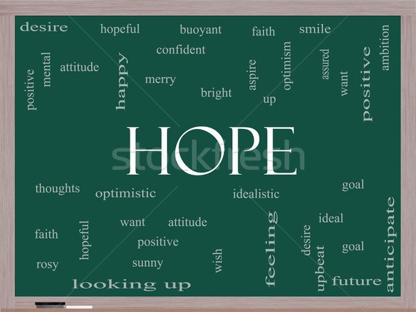 Stock photo: Hope Word Cloud Concept on a Blackboard