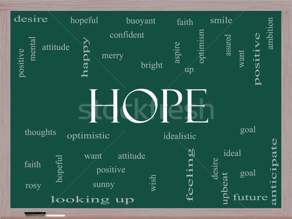 Speranza word cloud lavagna ottimista obiettivo Foto d'archivio © mybaitshop