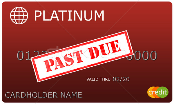 Platinum red Credit Card with Past Due sticker Stock photo © mybaitshop