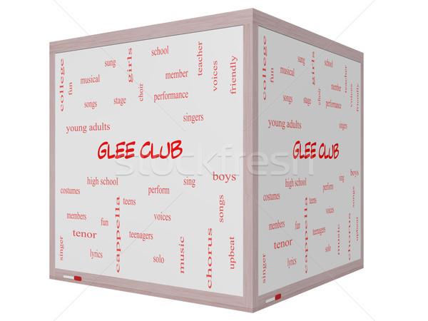 Stock fotó: Klub · szófelhő · 3D · kocka · tábla · nagyszerű