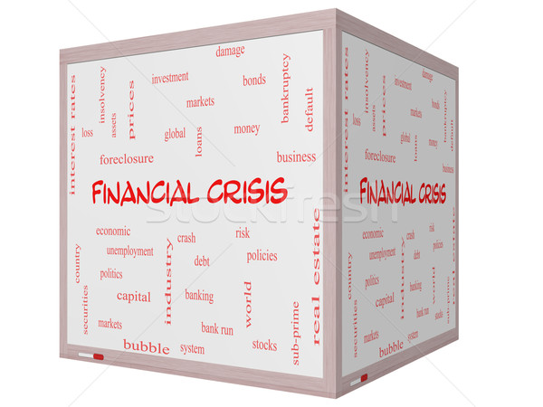 Financial Crisis Word Cloud Concept on a 3D cube Whiteboard Stock photo © mybaitshop