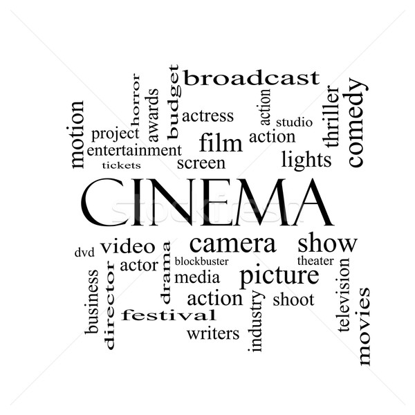 Cinema Word Cloud Concept in black and white Stock photo © mybaitshop
