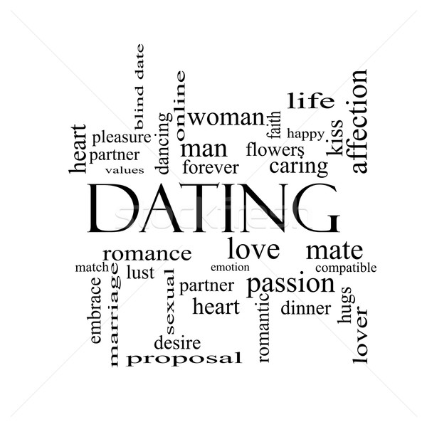 Dating Word Cloud Concept in black and white Stock photo © mybaitshop