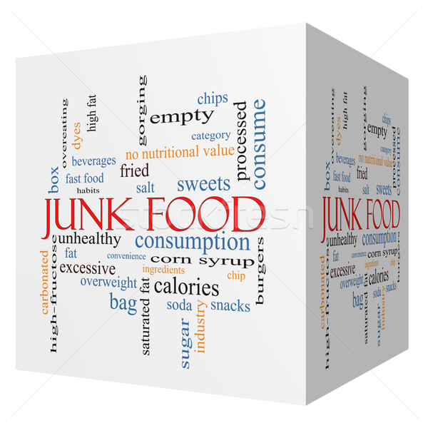Junk Food 3D cube Word Cloud Concept Stock photo © mybaitshop
