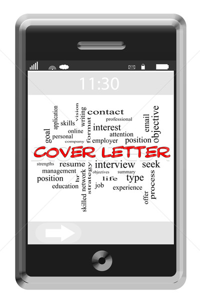 Cover Letter Word Cloud Concept on Touchscreen Phone Stock photo © mybaitshop