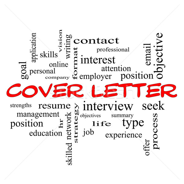 Cover Letter Word Cloud Concept in red caps Stock photo © mybaitshop