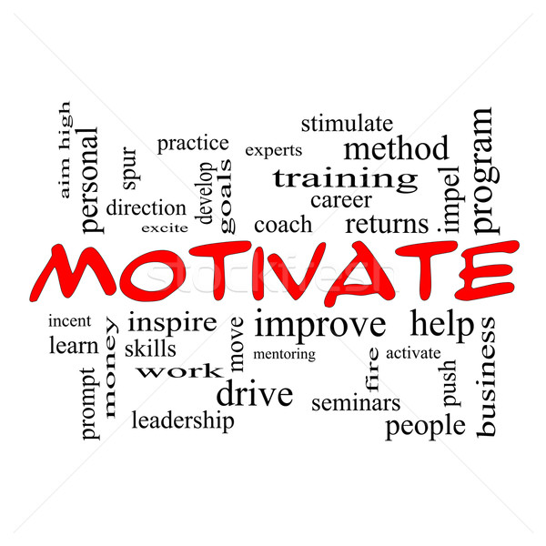 Motivate Word Cloud Concept in red caps Stock photo © mybaitshop
