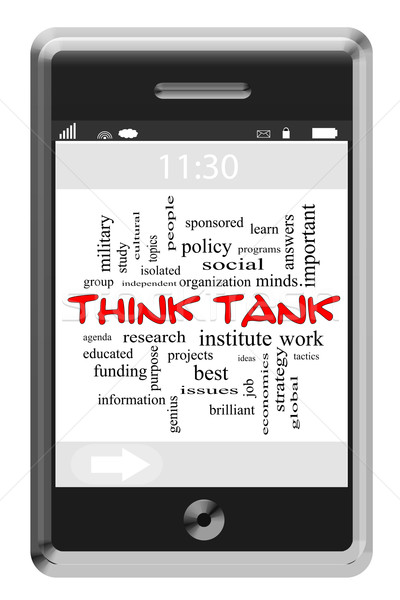 Think Tank Word Cloud Concept on Touchscreen Phone Stock photo © mybaitshop