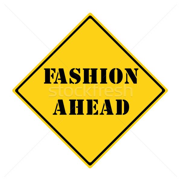 моде впереди знак желтый черный Diamond Сток-фото © mybaitshop