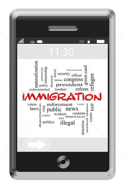 иммиграция слово облако телефон границе Сток-фото © mybaitshop