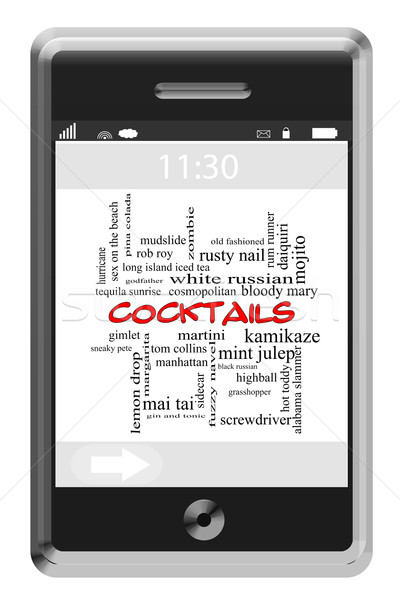 Cocktails Word Cloud Concept on a Touchscreen Phone Stock photo © mybaitshop