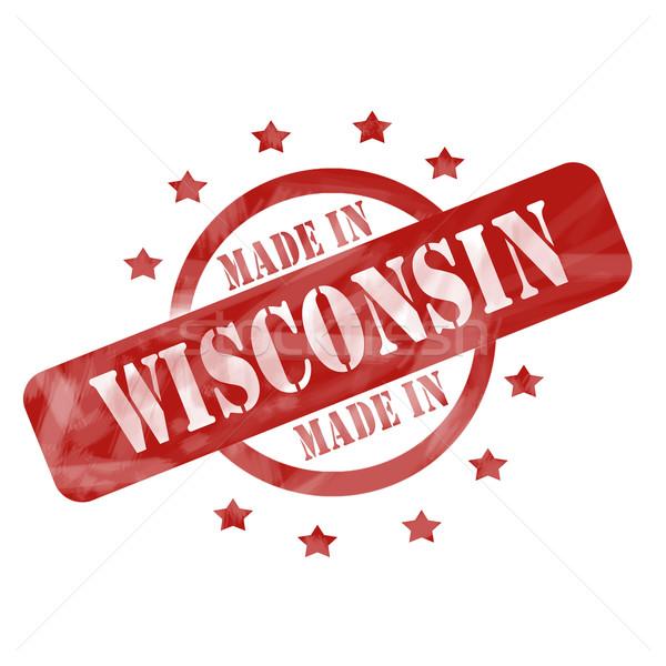 красный выветрившийся Висконсин штампа Круги звезды Сток-фото © mybaitshop