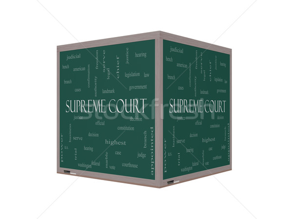 Supreme Court Word Cloud Concept on a 3D Blackboard Stock photo © mybaitshop