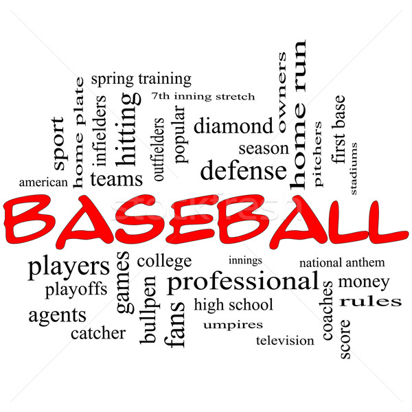 Baseball Word Cloud Concept in Red Caps Stock photo © mybaitshop
