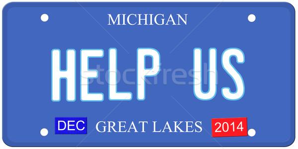 Stok fotoğraf: Yardım · Michigan · taklit · plaka · aralık · 2014