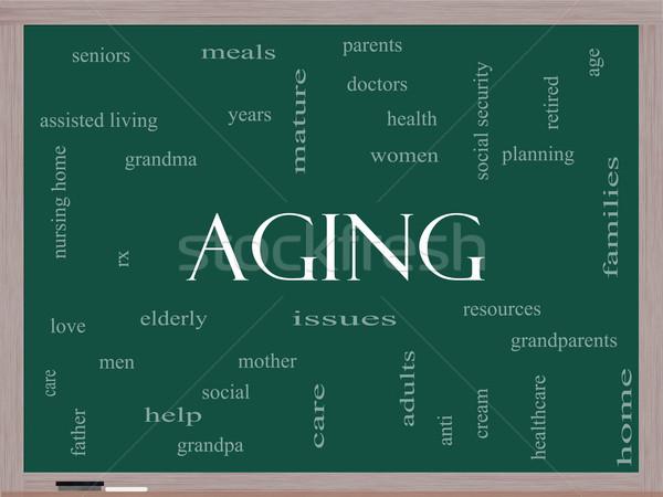 Yaşlanma kelime bulutu tahta muhteşem yaşlılar yaşlı Stok fotoğraf © mybaitshop