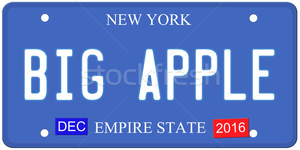 Groot appel New York kentekenplaat imitatie december Stockfoto © mybaitshop