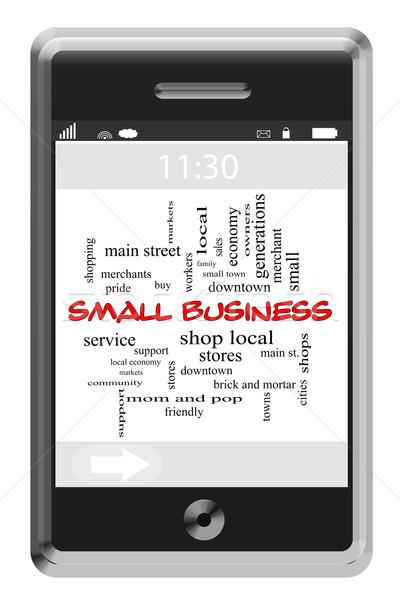 Petit commerce nuage de mots écran tactile téléphone magnifique soutien Photo stock © mybaitshop