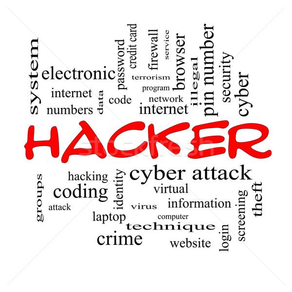 Stock fotó: Hacker · szófelhő · piros · nagyszerű · tűzfal · támadás