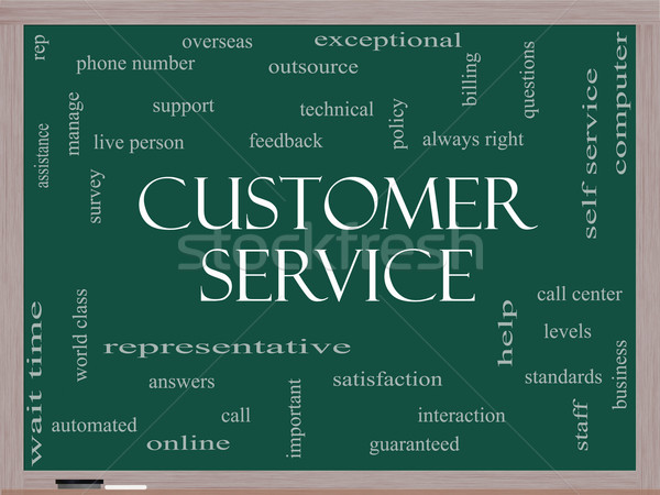 Customer Service Word Cloud Concept on a Blackboard Stock photo © mybaitshop