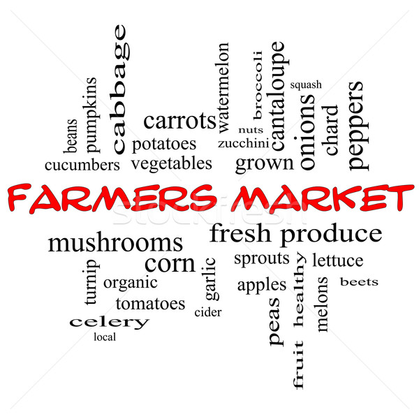 Farmers Market Word Cloud Concept in red caps Stock photo © mybaitshop